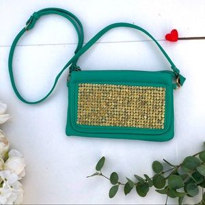 Street Level Studded Green and Gold Crossbody bag